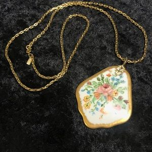 Vintage hand painted pendant flowers gold Monet